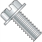 3/8-16X1  Slotted Indented Hex Washer Head Machine Screw Fully Threaded Zinc, Pkg of 500