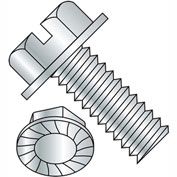 3/8-16X1  Slotted Indented Hex Washer Head Serrated Machine Screw Full Thrd Zinc, Pkg of 500