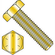 7/16-14X4  Hex Tap Bolt Grade 8 Fully Threaded Zinc Yellow, Pkg of 200