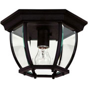 "Kenroy Lighting, Dural 1 Light Flush Mount, 16277BL Black Finish, Aluminum, 11""L"