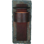 "Kenroy Lighting, Pembrooke Large Wall Lantern, 70286SL, Slate W/Copper Finish, Aluminum & Slate, 6""L"