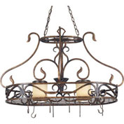 "Kenroy Lighting, Verona 2 Light Pot Rack, 90505AGC, Aged Golden Copper Finish, Metal, 23""L"