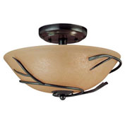 "Kenroy Lighting, Twigs 2 Light Flush Mount, 90906BRZ, Bronze Finish, Metal, 12""L"