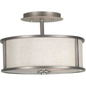 "Kenroy Lighting, Whistler 2 Light Semi Flush, 91582BZG, Bronze Gilt Finish, Metal, 14""L"
