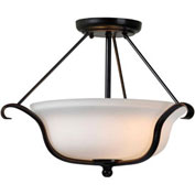 "Kenroy Lighting, Basket 2 Light Semi Flush, 93117ORB, Oil Rubbed Bronze Finish, Metal & Glass, 12""L"