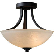 "Kenroy Lighting, Dynasty 3 Light Semi Flush, 93197BBZ, Burnished Bronze Finish, Metal & Glass, 14""L"