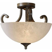 "Kenroy Lighting, Terrain 2 Light Semi Flush, 93217AT, Aruba Teak Finish, Metal & Glass, 15""L"