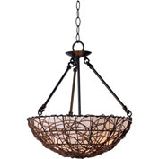 "Kenroy Lighting, Thicket 3 Light Semi Flush, 93307RAT, Rattan Finish, Metal & Glass, 16""L"