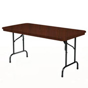 "KI Plastic Folding Table - Rectangular - 72""L x 30""W - Walnut - Duralite Series"