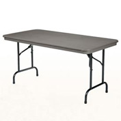"KI Plastic Folding Table - Rectangular - 96""L x 30""W - Blue Grey - Duralite Series"