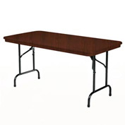 "KI Plastic Folding Table - Rectangular - 96""L x 30""W - Walnut - Duralite Series"