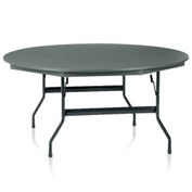 "KI Plastic Folding Table - 60"" Round - Blue Grey Top - Duralite Series"