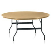 "KI Plastic Folding Table - 72"" Round - Sand Top - Duralite Series"