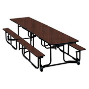 KI 12' Cafeteria Table with Benches - Brighton Walnut