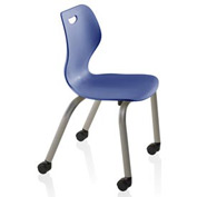 Intellect Wave Chair with Casters - Starlight Silver Frame with Splash Shell