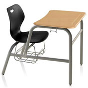 Intellect Wave Combination Desk Chair - Black Seat - Kensington Maple ABS Top