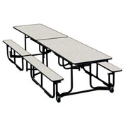 12 foot Uniframe Bench Table - White Nebula Top and Benches Black frame