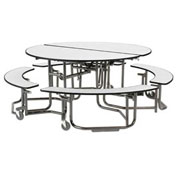 KI Uniframe Mobile Cafeteria Table Round - White Nebula Top - Black Frame