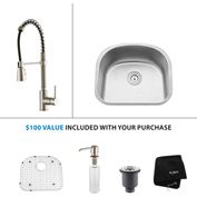 "Kraus KBU10-KPF1612-KSD30SS 23""Undermount Single Bowl SS Sink w/SS  Faucet & Soap Dispenser"