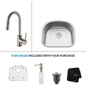"Kraus KBU10-KPF1622-KSD30SN 23""Undermount Single Bowl SS Sink w/Satin Nickel Faucet & Soap Dispenser"