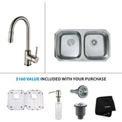 "Kraus KBU22-KPF1622-KSD30SN 32""Undermount Double Bowl SS Sink w/Satin Nickel Faucet & Soap Dispenser"