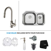 "Kraus KBU23-KPF1622-KSD30SN 32""Undermount Double Bowl SS Sink w/Satin Nickel Faucet & Soap Dispenser"