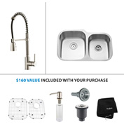 "Kraus KBU24-KPF1612-KSD30SS 32""Undermount Double Bowl SS Sink w/SS  Faucet & Soap Dispenser"