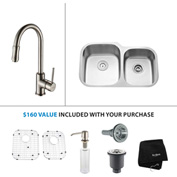 "Kraus KBU24-KPF1622-KSD30SN 32""Undermount Double Bowl SS Sink w/Satin Nickel Faucet & Soap Dispenser"