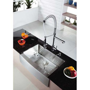 "Kraus KHF203-36-KPF1602-KSD30CH 36"" Farmhouse Double SS Sink W/Chrome Faucet & Soap Dispenser"