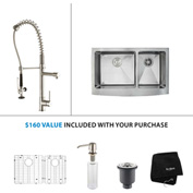 "Kraus KHF203-36-KPF1602-KSD30SS 36""Farmhouse Double Bowl SS Sink w/SS  Faucet & Soap Dispenser"