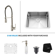 "Kraus KHU101-23-KPF1612-KSD30SS 23""Undermount Single Bowl SS Sink w/SS  Faucet & Soap Dispenser"