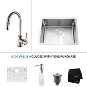 "Kraus KHU101-23-KPF1622-KSD30SN 23""Undermnt Single Bowl SS Sink w/Nickel Faucet & Soap Dispenser"
