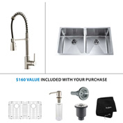 "Kraus KHU102-33-KPF1612-KSD30SS 33""Undermount Double Bowl SS Sink w/SS  Faucet & Soap Dispenser"