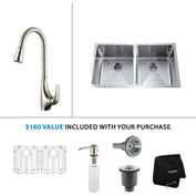 "Kraus KHU102-33-KPF1621-KSD30SS 33""Undermount Double Bowl SS Sink w/SS  Faucet & Soap Dispenser"