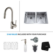 "Kraus KHU102-33-KPF1622-KSD30SN 33""Undermount Double Bowl SS Sink w/Nickel Faucet & Soap Dispenser"