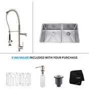 "Kraus KHU103-33-KPF1602-KSD30SS 33""Undermount Double Bowl SS Sink w/SS  Faucet & Soap Dispenser"