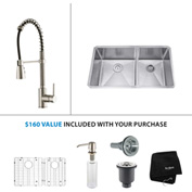 "Kraus KHU103-33-KPF1612-KSD30SS 33""Undermount Double Bowl SS Sink w/SS  Faucet & Soap Dispenser"