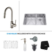 "Kraus KHU103-33-KPF1622-KSD30SN 33""Undermount Double Bowl SS Sink w/Nickel Faucet & Soap Dispenser"