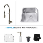 "Kraus KHU121-23-KPF1612-KSD30SS 23""Undermount Single Bowl SS Sink w/SS  Faucet & Soap Dispenser"