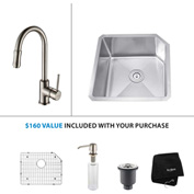 "Kraus KHU121-23-KPF1622-KSD30SN 23""Undermnt Single Bowl SS Sink w/Nickel Faucet & Soap Dispenser"