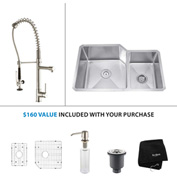 "Kraus KHU123-32-KPF1602-KSD30SS 32""Undermount Double Bowl SS Sink w/SS  Faucet & Soap Dispenser"