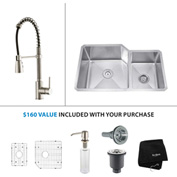 "Kraus KHU123-32-KPF1612-KSD30SS 32""Undermount Double Bowl SS Sink w/SS  Faucet & Soap Dispenser"