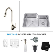 "Kraus KHU123-32-KPF1621-KSD30SS 32""Undermount Double Bowl SS Sink w/SS  Faucet & Soap Dispenser"
