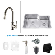"Kraus KHU123-32-KPF1622-KSD30SN 32""Undermount Double Bowl SS Sink w/Nickel Faucet & Soap Dispenser"