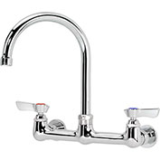 "Krowne 12-801L - Commercial Series 8"" Center Wall Mount Faucet, 6"" Gooseneck"