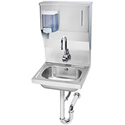 "Krowne HS-13 - 16"" Wide Hand Sink with Electronic Faucet, Soap & Towel Dispenser and P-Trap"
