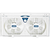 "Lasko 2138 8"" Electronically Reversible Twin Window Fan, 2-Speed, 110V, White"