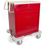 Lakeside® C-424-K-1R Classic 4 Drawer Medical Emergency Cart, Red, Key Lock