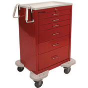 Lakeside® C-630-K-1R Classic 6-Drawer Medical Emergency Cart, Red, Key Lock