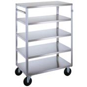 Lakeside® 357 Medium Duty Stainless Steel 5 Shelf Cart 3 Edges Up 500 Lb Cap
